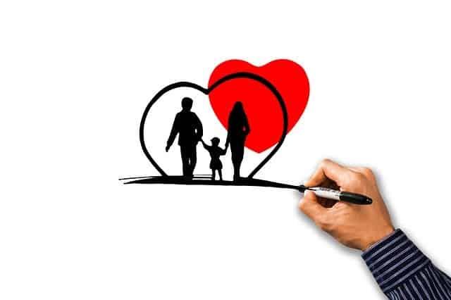 אמא אבא ובת בתוך לב