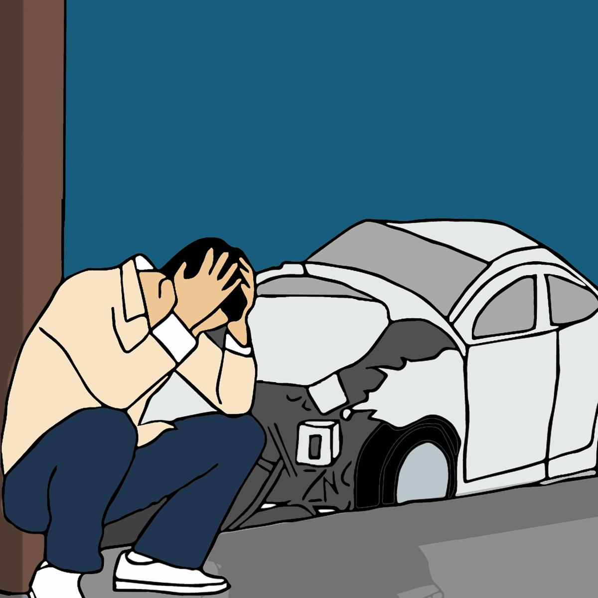 יושב מחכה לחברת הביטוח